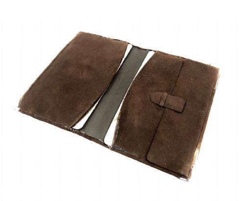Antique Sterling Silver Edged / Mounted Brown Suede Wallet / Pouch / Hallmarked